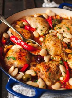 Spanish Chicken in bravas sauce is smoked paprika flavoured chicken cooked in delicious tomato sauce with olives and butter beans. Turkey Recipes, Mexican Food Recipes, Chicken Recipes, Dinner Recipes, Shrimp Recipes, Vegetarian Mexican, Spanish Recipes, Chicken Ideas, Dessert Recipes