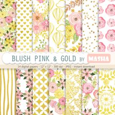 "Excited to share the latest addition to my shop: Pink and gold floral: ""Blush Pink and Gold digital papers"" with floral digital papers, gold foil patterns, 14 images, 300 dpi, JPG files #goldpatterns #goldfoilpattern #golddigitalpaper #floraldigitalpaper #floral #pink #gold #scrapbooking #etsy #supplies http://etsy.me/2oR2eF9"