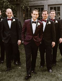 Black Tie Wedding in the Woods. Burgundy Cream Color Palette. Maroon Jacket.