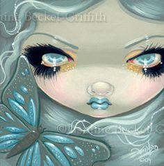 Fairy Face 26 Jasmine Becket Griffith Fantasy Butterfly Big Eye Signed 6x6 Print   eBay