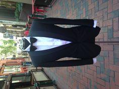 Oscar Hunt Custom - Super black with satin shawl collar, single button. Paired with custom poplin shirt with hidden buttons. James Bond Tuxedo, Wedding Tux, Man Stuff, Poplin, Shawl, Suit Jacket, Satin, Buttons, Jackets