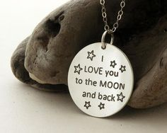 I love you to the moon and back ... sterling silver necklace .... star ... BFF necklace ... LOVE ... inspirational quote on Etsy, $61.66 CAD