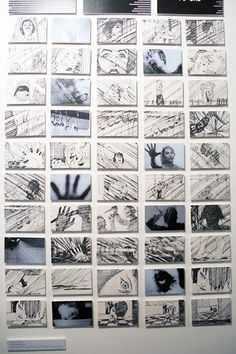 Saul Bass, storyboard for the iconic shower scene in Hitchcock's seminal horror film Psycho (1960), at the Kemistry Gallery in London.
