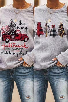 My favorite Hallmark & Christmas tree plaid winter sweatshirt. Got extra off code Christmas Tee Shirts, Christmas Sweaters, Christmas Outfits, Couple Outfits, Mom Outfits, Casual Fall Outfits, Winter Outfits, Hallmark Christmas, Ugly Sweater