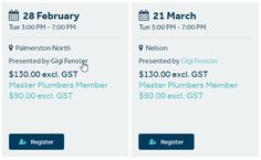 Scheduled course dates showing course date, time, location, price and discounts! Master Plumbers New Zealand Event Template, Dates, Management, Presents, Training, Templates, Gifts, Stencils, Date