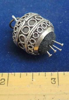 BEAUTIFUL ANTIQUE SILVER CHATELAINE PIN CUSHION