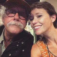 Father daughter selfie! Arlo Guthrie and Sarah Lee Guthrie on the 50th anniversary tour for Alices Resturant!