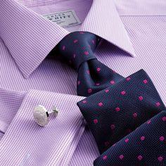 Classic navy and magenta classic spot tie | Classic ties from Charles Tyrwhitt, Jermyn Street, London