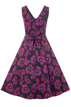 Violet Poppy Floral Charlotte Dress : Lady Vintage