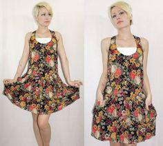 Vintage 80's Black Floral ROMPER DRESS by somethingborrowedvtg, $32.00