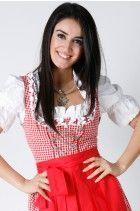 3tlg. Dirndl Set rot kariert Oktoberfest mit Bluse und Schuerze