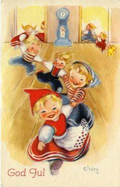 Elbjörg Vintage Christmas, Christmas Cards, Christmas Postcards, Norwegian Christmas, Pattern Illustration, Christmas Pictures, Winter Wonderland, Norway, Print Patterns