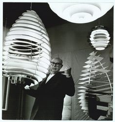 Poul Henningsen with his creations