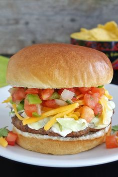The taco burger is a delicious burger seasoned and topped like your favorite tacos.
