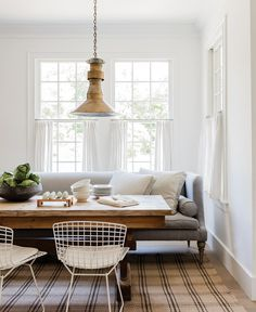 A dining room sofa provides the most comfortable seating comfort at the dining t… – Farmhouse interior livingroom Interior Design Living Room, Dining Room Design, Farmhouse Interior Design, Kitchen Couches, Greek Revival Home, Interior Design, Home Decor, Dining Room Sofa, Farmhouse Interior