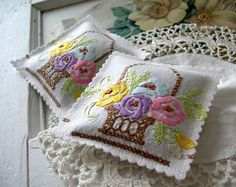 Vintage Embroidered Flower Baskets LAVENDER SACHETS by VintageHome