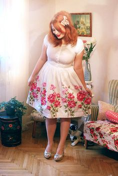 white dress w/floral accents