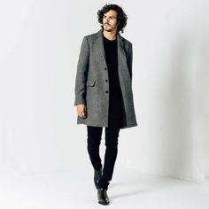 Mens Long Wool Coat in Grey 1