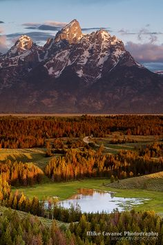 The Triangle X Ranch, Hedrick Pond and Teton Mountains, Grand Teton National Park, Wyoming by Mike Cavaroc