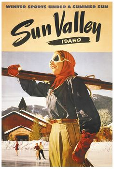 When visiting Sun Valley, Idaho you must explore the halls of the Sun Valley Resort - filled with historic images and SV memories! Sun Valley Resort, Sun Valley Idaho, Star Valley, Vintage Ski Posters, Retro Posters, Mountain Photography, Snow Skiing, Vintage Advertisements, Vintage Ads