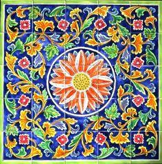 DECORATIVE CERAMIC TILES Floral design mosaic by tunisiandecor, $275.00 Ceramic Wall Tiles, Mosaic Tiles, Persian Pattern, Tile Murals, Carpet Design, Tile Patterns, Floor Rugs, Ceilings, Rugs On Carpet