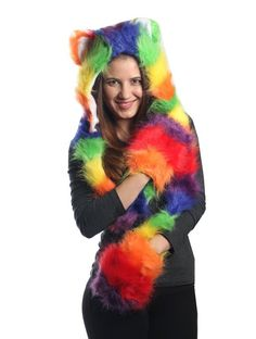Rainbow Full Animal Hood Hoodie Hat Faux Fur 3 in 1 Function Claws ** Check out the image by visiting the link. (This is an affiliate link) Dress Hats, Dress Up, Husky Brown, Rainbow Costumes, Animal Ears, Headgear, Claws, Faux Fur, Hoods
