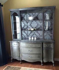 China Cabinet Black Glaze Rustolium Chalk Paint Country Grey