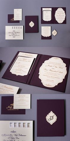 Our plum and gold wedding invitations were made into a hard bound book invitation.We used a material that felt like leather for the cover. It's suitable for wedding or any speical occasion