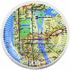 "New York MTA Map Dessert Plates, New York Souvenirs, New York City Souvenirs by Great Places To You. $3.99. 7"" diameter - 8 plates per pack. Price below is per pack"