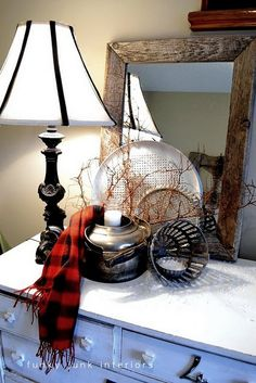 winter vignette - the plaid scarf is cozy and cute