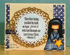 inspiredstamps.blogspot.com, kary, christmas card, hymn girls stamp set, scripture stamps Justified By Faith, Jesus Christ, Christmas Cards, Stamps, Girls, Blog, Inspiration, Design, Christmas E Cards