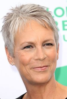 Jamie Lee Curtis has a sassy silver pixie.