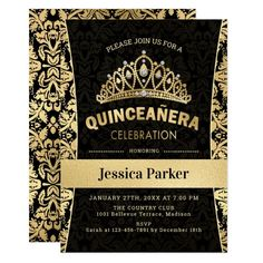 Gold Black Quinceanera Celebration Invitation #Ad , #Sponsored, #Quinceanera#Celebration#Invitation#Shop Laser Cut Invitation, Gold Invitations, Elegant Invitations, Custom Invitations, Birthday Invitations, Invite, Quinceanera Tiaras, Quinceanera Themes, Quinceanera Invitations