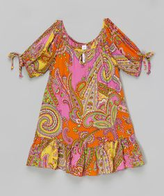 This Orange & Pink Paisley Peasant Dress - Toddler & Girls by Mulberribush is perfect! #zulilyfinds