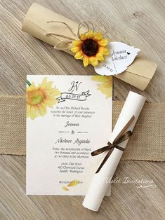 Items similar to 10 Rustic Boxed Sunflower Scrolls, Wooden Box Sunflower Wedding Invitations, Handmade Rustic Eco Twine Invitation Scrolls, Sunflower Scroll on Etsy Sunflower Wedding Invitations, Handmade Wedding Invitations, Rustic Invitations, Wedding Invitation Cards, Wedding Cards, Scroll Invitation, Handmade Invitation Cards, Event Invitations, Sunflower Birthday Parties