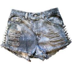 Vintage, cutoff, shredded,  destroyed,  grunge, omen eye, short, shorts, studded, distressed, denim, high waisted, cut off, studded, punk