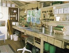 Craft Room!!!!    Oh this is so gonna be mine in the Spring.  Have been contemplating setting up one of my little buildings for a craft room but not sure how I was gonna do it.  I love PINTEREST!