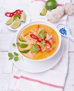 Tajska zupa z krewetkami #intermarche #zupa #krewetki Thai Red Curry, Ethnic Recipes, Food, Essen, Meals, Yemek, Eten