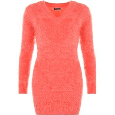 Zahra V-Neck Fluffy Jumper ($29) ❤ liked on Polyvore featuring tops, sweaters, coral, long sleeve v neck top, red jumper, v-neck tops, v-neck jumper and long sleeve jumper