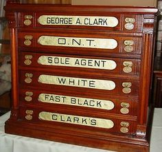 6 drawer Clark's cherry spool cabinet with embossed pulls---14617