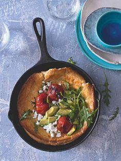 Dutch baby s pečenými rajčátky Iron Pan, Kitchen, Cooking, Kitchens, Cuisine, Cucina