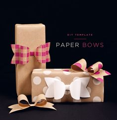 DIY Paper Bows with a template you can print out so you can make your own.