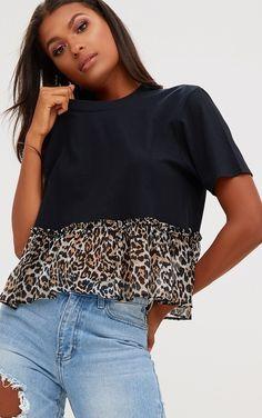 1b86e140453699 Pretty Little Things Leopard print frill black t-shirt