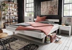 #balkenbett #weiß #kiefer #massiv #schlafzimmer #ideen #einrichtungsideen # Wohnideen