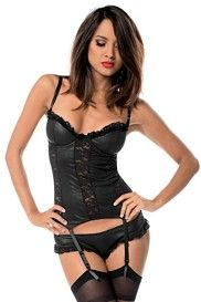 Leather Look Lacey Bustier