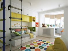 Study in the corner of the kids' room is both spacious and elegant