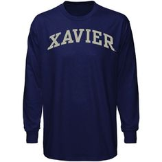 Xavier Musketeers Navy Blue Vertical Arch Long Sleeve T-shirt - $13.99