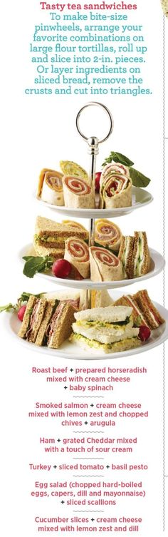 How to Throw the Best Tea Party Tea sandwiches by Lisa Wolsey Tea Party Sandwiches, Finger Sandwiches, Pinwheel Sandwiches, Brunch, Tea Recipes, Cooking Recipes, Party Recipes, Tapas, Snacks Für Party