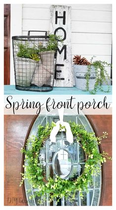 Front porch Spring decor that is inexpensive, fresh and welcoming! See more at DIY beautify!