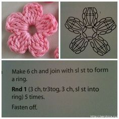Crochet & knitting — maria-cro: pattern for the cute flowers :) i. Crochet Small Flower, Crochet Simple, Crochet Diy, Crochet Motifs, Crochet Flower Patterns, Crochet Diagram, Crochet Crafts, Crochet Flowers, Love Crochet